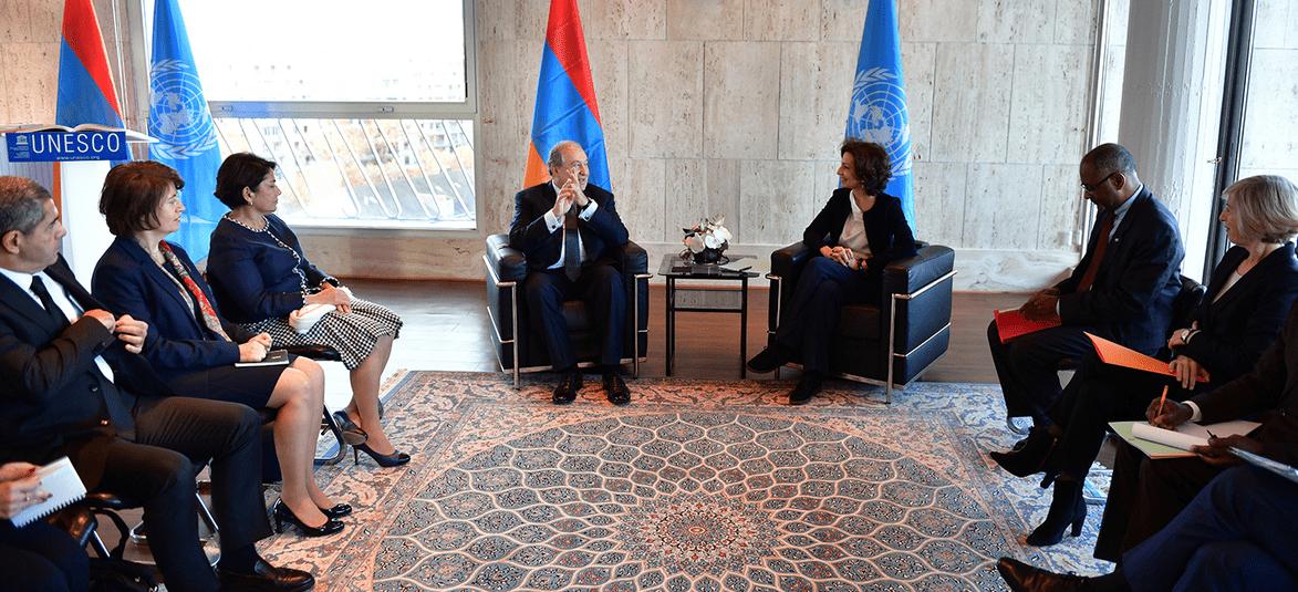 Армен Саргсян в Париже встретился с генеральным директором ЮНЕСКО Одри Азулой