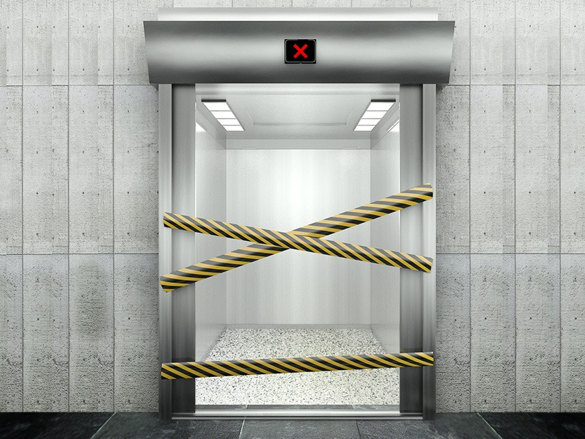 3d closed elevator with open door
