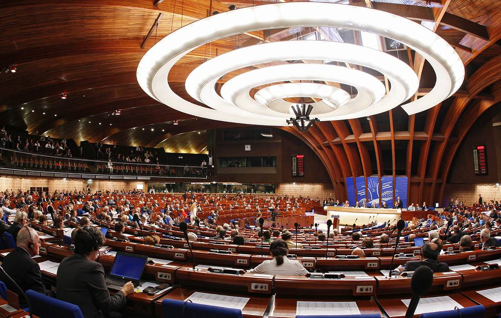 Members of the Parliamentary Assembly of the Council of Europe attend a debate in Strasbourg
