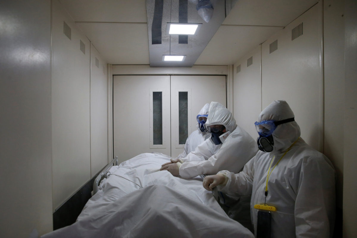Medical workers take care of the coronavirus disease (COVID-19) patients at a hospital in Moscow