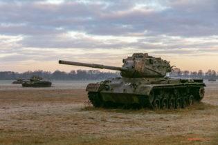 Tanks on the military shooting range near Sögel, Germany
