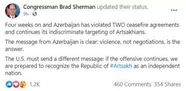 Եթե հարձակումը շարունակվի, մենք պատրաստ ենք ճանաչել Արցախի Հանրապետության անկախությունը. Բրեդ Շերման